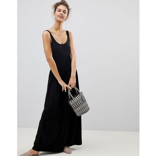 mixed fabric strappy maxi dress - black marki Asos