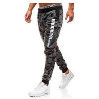 J.style Spodnie męskie dresowe joggery moro-grafitowe denley kk513