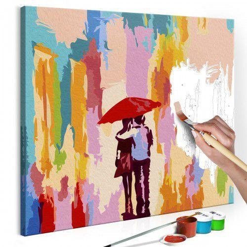 Artgeist Obraz do samodzielnego malowania - para pod parasolem (różowe tło)
