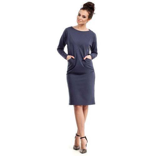 Niebieska prosta sportowa sukienka z kieszeniami, Moe, 36-44
