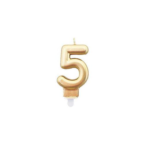 Świeczka cyferka złota - 5 - 1 szt. (5907509920745)