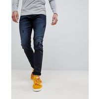 Only & Sons Slim Fit Jeans In Coated Denim With Rip Details - Navy, slim