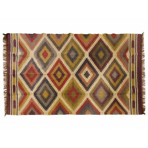 Vente-unique Dywan kilimowy tkany ręcznie z wełny i juty carnaval - 160x230cm - wielokolorowy