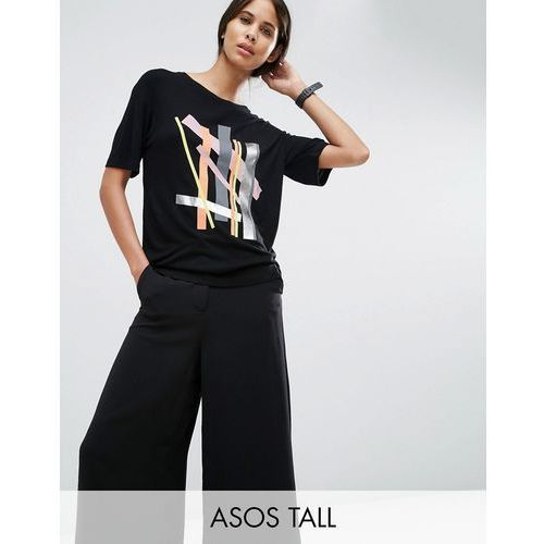 ASOS TALL T-Shirt with Cutabout Colour Block Print in Slouchy Rib - Multi