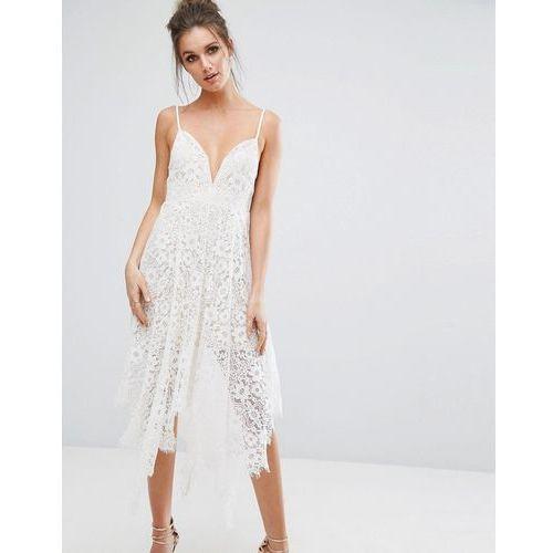 eyelash lace plunge midi dress - white marki Boohoo