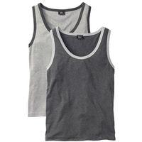 Koszulka bez rękawów (2 szt.) Regular Fit bonprix jasnoszary melanż + antracytowy melanż, w 2 rozmiarach