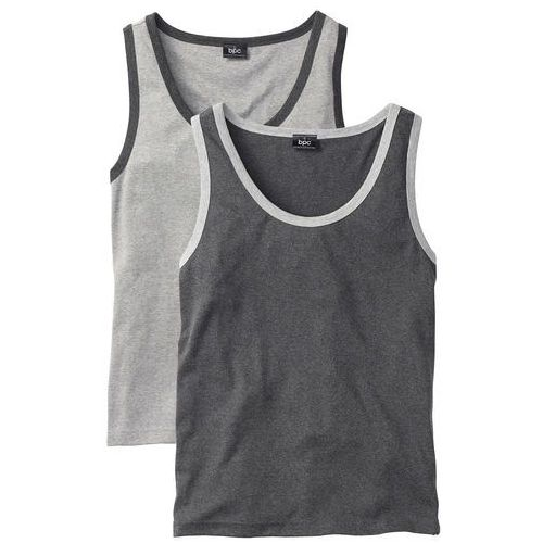 Koszulka bez rękawów (2 szt.) Regular Fit bonprix jasnoszary melanż + antracytowy melanż