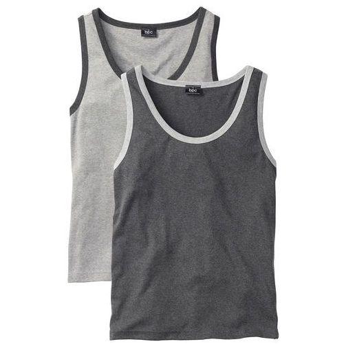 Koszulka bez rękawów (2 szt.) regular fit jasnoszary melanż + antracytowy melanż, Bonprix, S-XXL