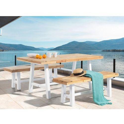 Meble ogrodowe biało-brązowe - ogród - stół z 2 ławkami - scania marki Beliani