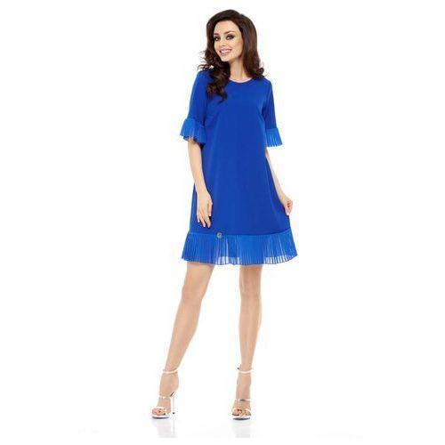Wizytowa Sukienka z Ozdobnym Plisowaniem - Chabrowa, GL243be