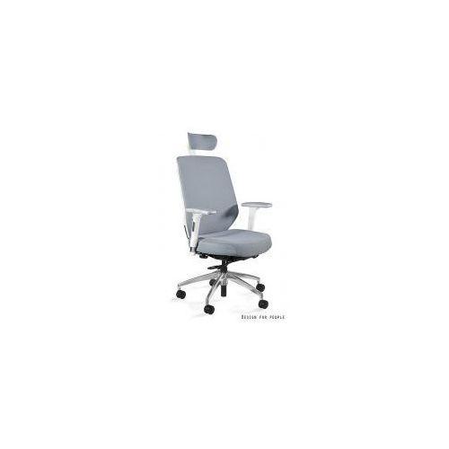 Unique meble Krzesło biurowe hero szaro- białe tkanina