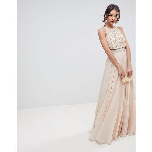 Asos design Asos crop top maxi dress with pearl embellishment - pink