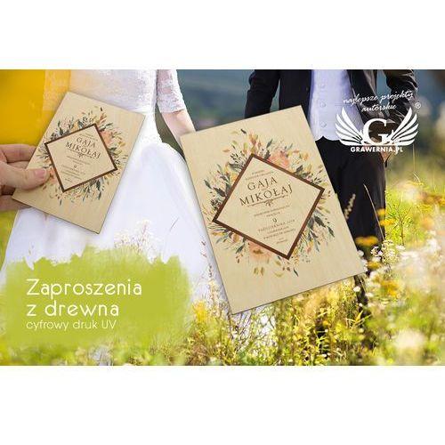 Zaproszenia ślubne z drewna - cyfrowy druk UV - ZAP026