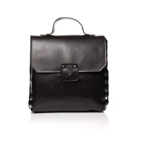 Moe Czarna elegancka torebka - plecak z metalowymi nitami