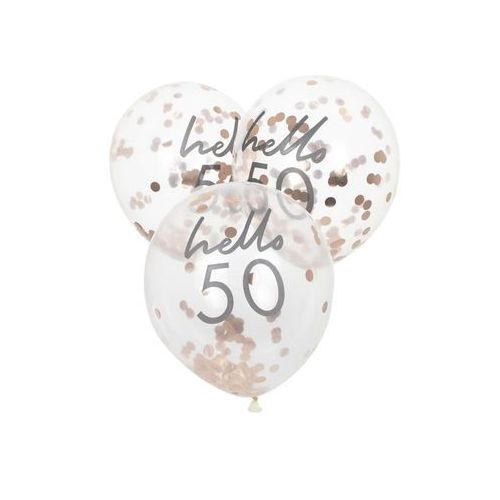 Balony lateksowe przezroczyste Hello 50 z konfetti - 30 cm - 5 szt.