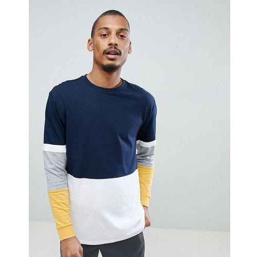 Asos design relaxed longline long sleeve t-shirt with colour block in navy - navy