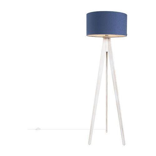 Lampa podlogowa Tripod Classic biala z kloszem 50cm antyczny niebieski