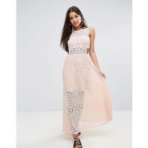 Boohoo Tab Side Lace Maxi Dress - Pink, kolor różowy
