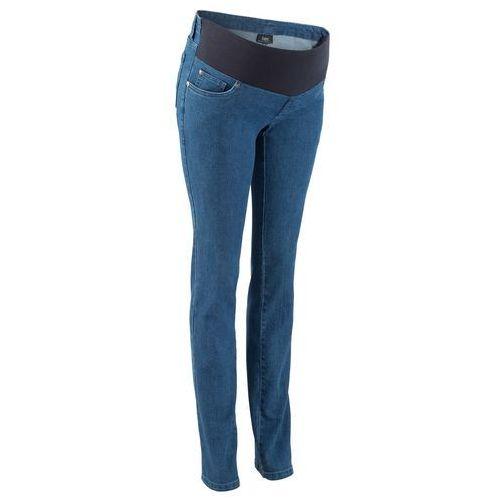 """Dżinsy ciążowe z paskiem pod brzuch, proste nogawki niebieski """"stone"""" marki Bonprix"""