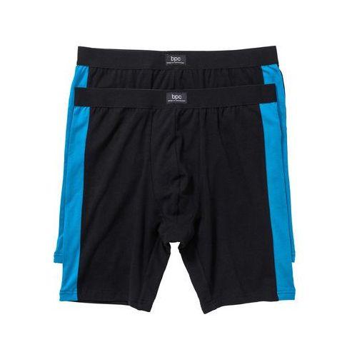 Długie bokserki (2 pary) bonprix czarny + niebieski capri, bawełna