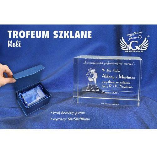 Trofeum szklane neli - prezent ślubny marki Grawernia.pl - grawerowanie i wycinanie laserem