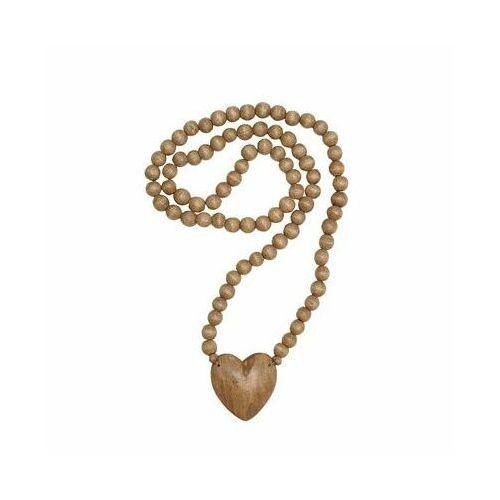 Bloomingville - Drewniane korale z drewna mango z sercem