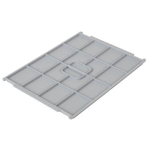 Pokrywa z polipropylenu, do pojemnika dł. x szer. 400x300 mm, szary, do 12 i 24
