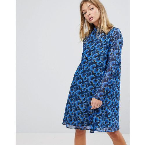 floral high neck swing dress - blue marki Y.a.s