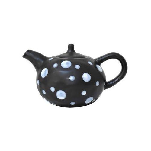 HK Living Czajnik herbaciany czarny kropkowany ręcznie zdobiony CER0106, CER0106