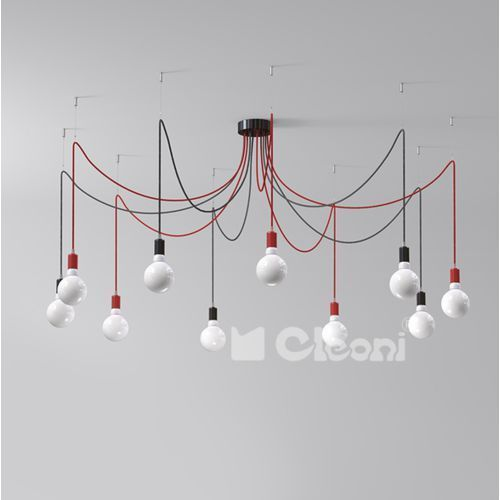 """Lampa wisząca octopus 10xe27 z czarno-białym przewodem (""""żelazko""""), 1201a10j1+ marki Cleoni"""