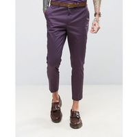 Devils Advocate Skinny Fit Purple Cotton Sateen Cropped Suit Trousers - Purple, bawełna