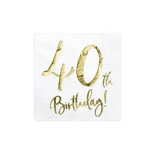 SERWETKI 40th BIRTHDAY BIAŁE 20szt, #A194^wh