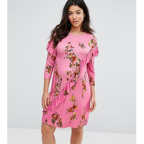 ASOS Maternity Mini T-Shirt Dress With Frill And Low Back In Floral Print - Multi