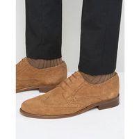 Walk london harrington suede brogue derby shoes - tan