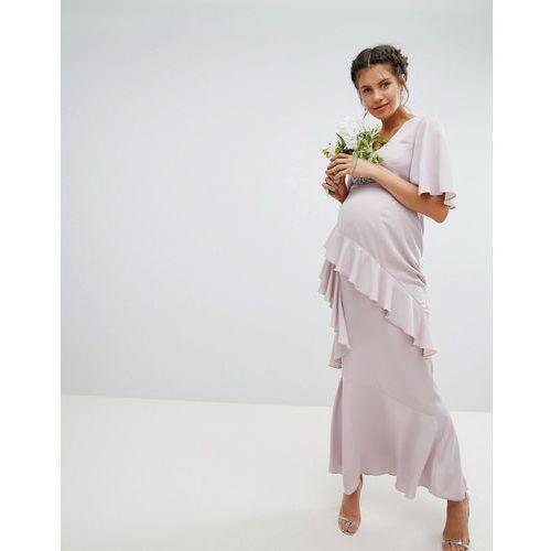 ASOS DESIGN Maternity ruffle flutter sleeve maxi dress with embellished belt - Pink, kolor różowy