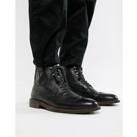 Dune lace up brogue boots in black - black