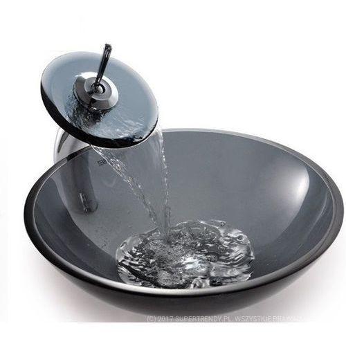 Zoja Szklana umywalka + bateria szkło grafitowe