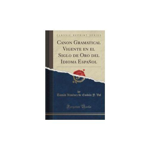 Canon Gramatical Vigente En El Siglo de Oro del Idioma Espanol (Classic Reprint)