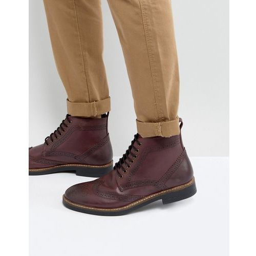 Frank Wright Brogue Boots Burgundy Leather - Red