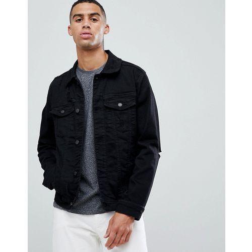 denim trucker jacket with elbow rip in black - black, Hollister