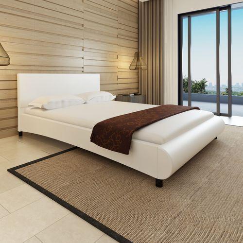 skórzane, białe łóżko z zaokrąglonym podnóżkiem + materac 140 x 200 cm marki Vidaxl