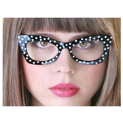 Ap Okulary czarne w białe kropki 1 szt.