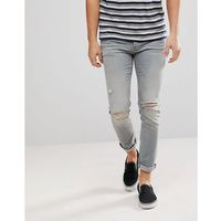 River Island Skinny Jeans With Knee Rips In Light Grey Wash - Blue, jeansy