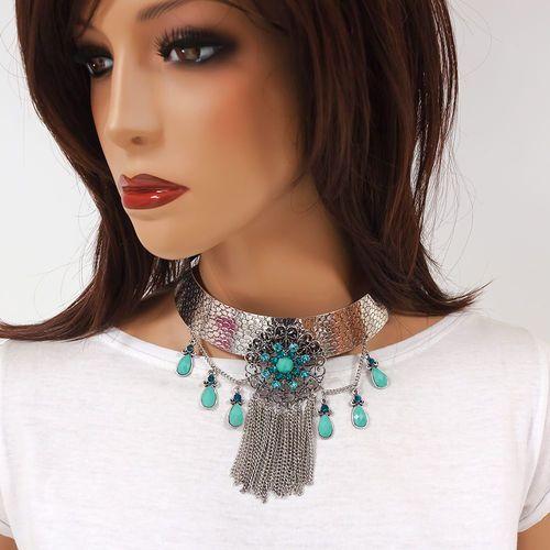 Naszyjnik modern choker turquoise - turquoise marki Miss glow