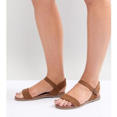 New look wide fit 2-part suedette flat sandal - tan