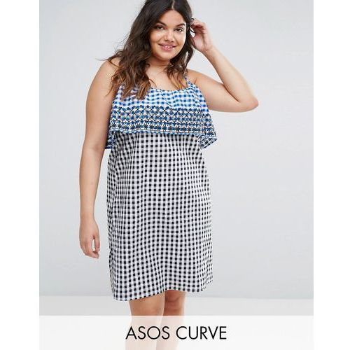 gingham double layered sundress with embroidery detail - multi marki Asos curve