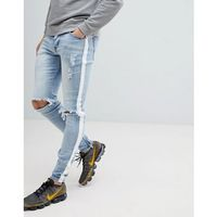 Sixth June Super Skinny Jeans In Light Wash With Side Stripe - Blue, jeans