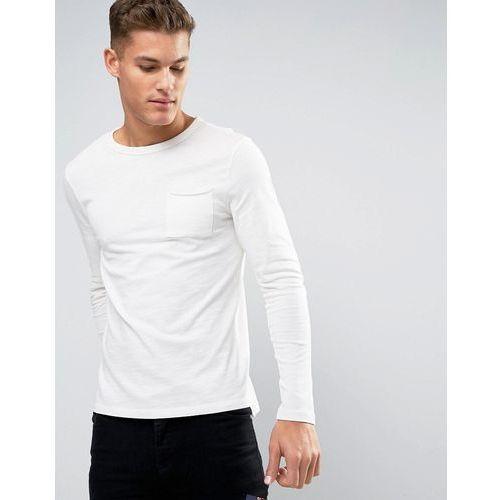long sleeve slub t-shirt in off white - white marki New look