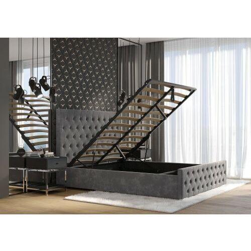 Łóżko 140x200 tapicerowane bolonia + pojemnik + materac welur szare marki Big meble