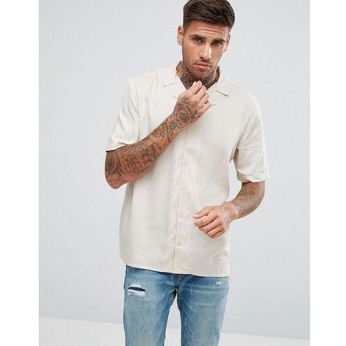 Another influence plain revere collar short sleeve shirt - stone